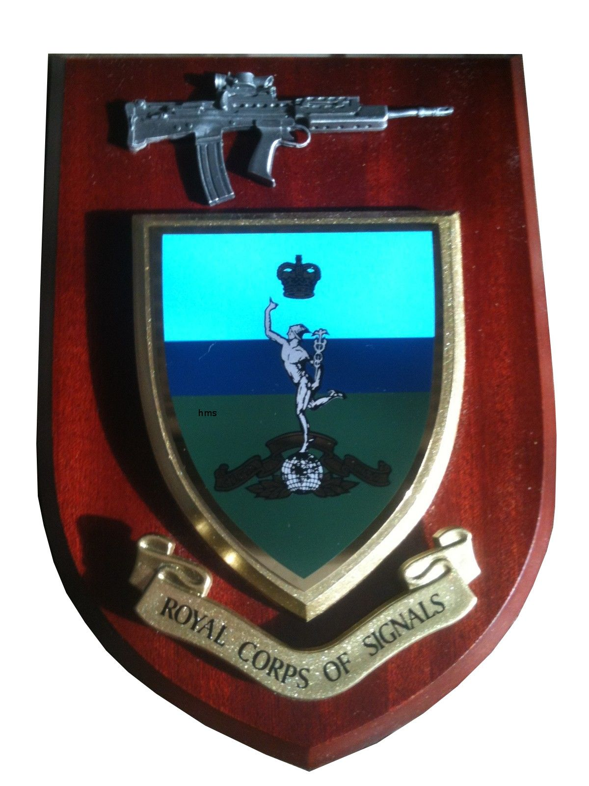 Royal Corps Of Signal With Pewter Sa Regimental Wall Plaque