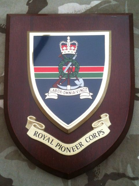 Royal Pioneer Corps Regimental Military Wall Plaque Shield