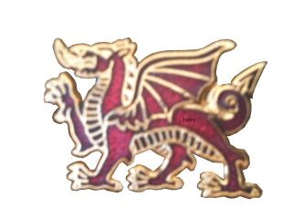 Royal Welch Fusiliers RWF Lapel Regimental Military Standing Dragon Badge