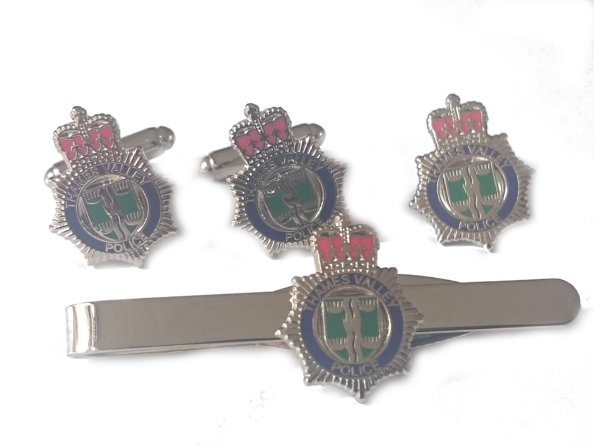 Tie Clip Military Gift Set Badge Thames Valley Police Cufflinks